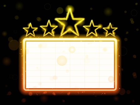 Star Neon Movie Sign With White Copyspace Vector