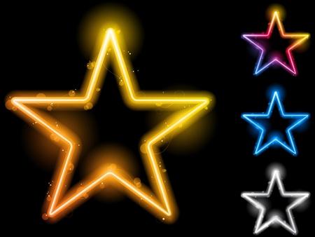 shining light: Conjunto de estrellas de ne�n brillante de cuatro