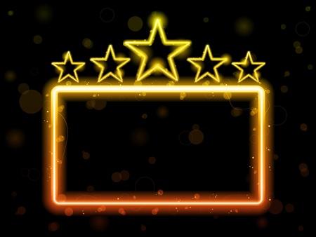 movie sign: Vector - signo de ne�n de estrella de cine con Copyspace