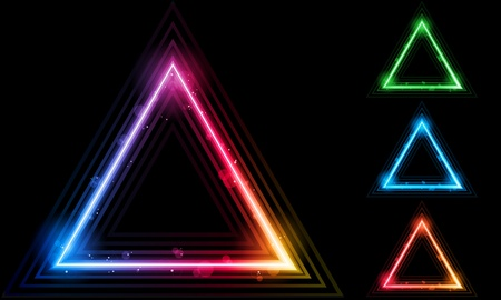 Vector - Set of  Neon Laser Triangle Border Illustration