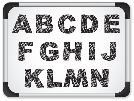 Black Alphabet on Whiteboard Vector