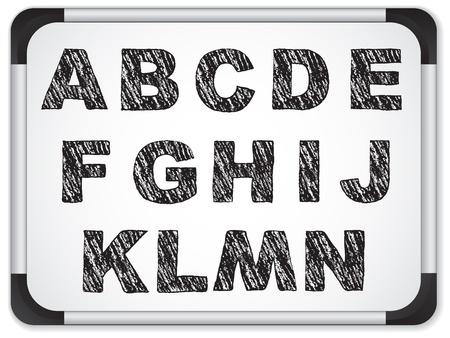 chalk writing:  Black Alphabet on Whiteboard