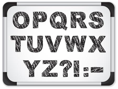 Black Alphabet on Whiteboard Vector