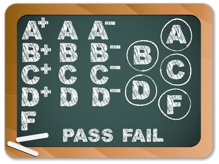 school test:  Blackboard with School Results Grades with Chalk
