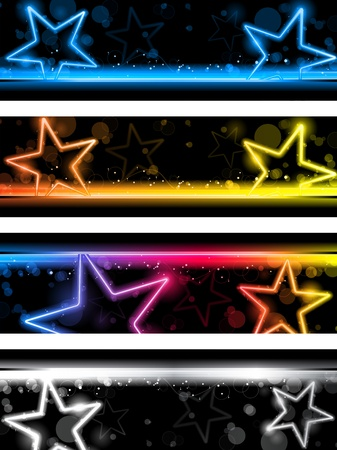 neon party: Incandescente Neon stelle Banner sfondo impostato di quattro
