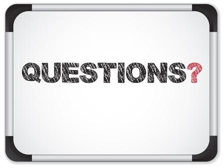 question mark: Vektor - Whiteboard mit Fragen Meldung geschrieben in schwarz