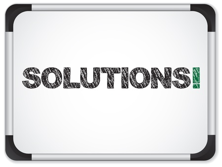 Vector - Whiteboard with Solutions Message written in Black Vector