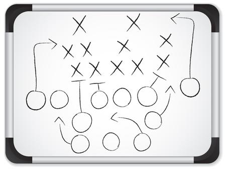 화이트 보드에 팀웍 축구 게임 계획 전략 일러스트