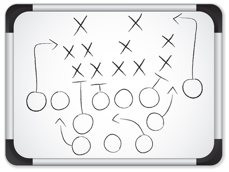 plan d action: Le travail d'�quipe de football Strat�gie Game Plan sur le tableau blanc Illustration