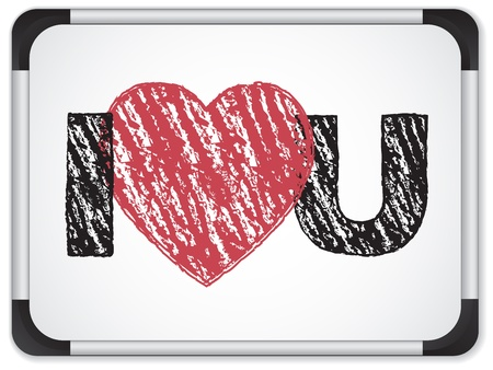 Vector - Whiteboard with I Love Heart You Message written with Chalk Vector