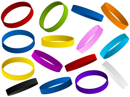 silicone: Vector - Set of colorful wristband