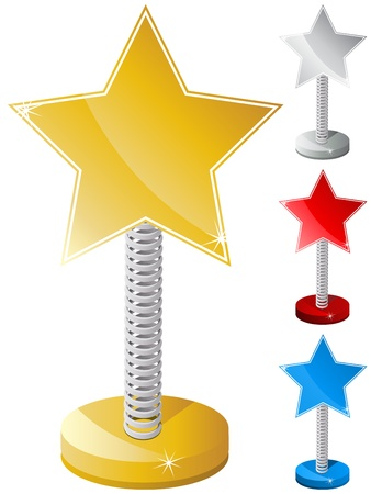 metal spring: Vector - Set of Colorful Star Shaped Text Box on Metal Spring
