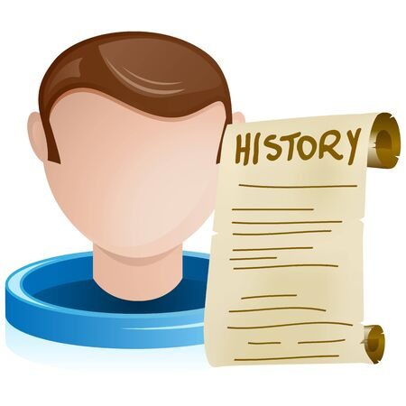 Man Head with History Old Paper Vector