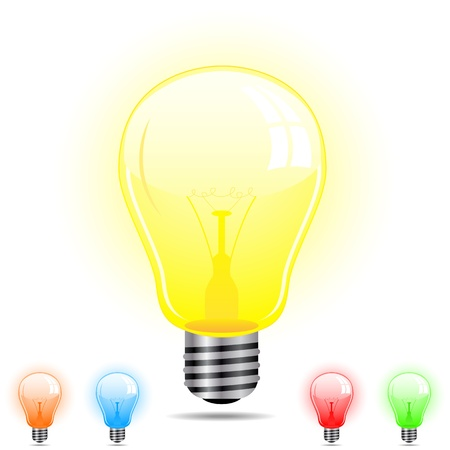 Light Bulb in 5 different colors Stock Vector - 10367137