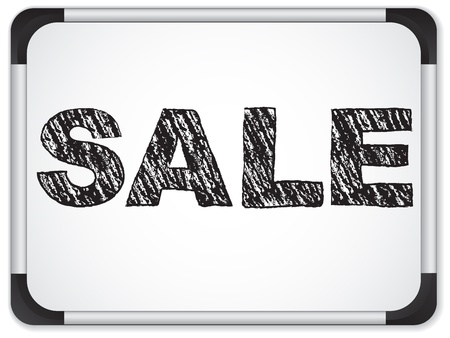 specials: Sale written on whiteboard with chalk.