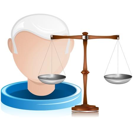 Vector - Senior Judge with Justice Balance Illustration