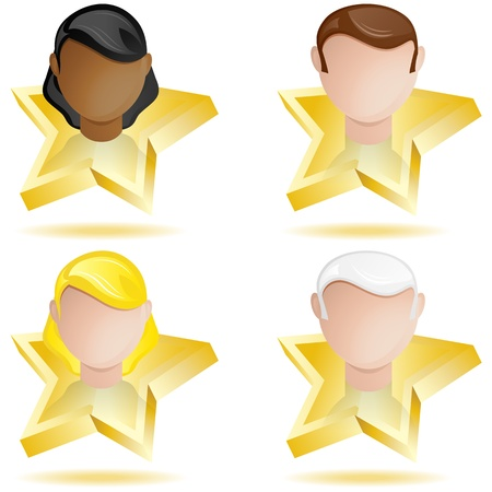 star quality: Vector - Successful People Head on Golden Star