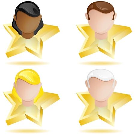 Vector - Successful People Head on Golden Star Stock Vector - 10416863