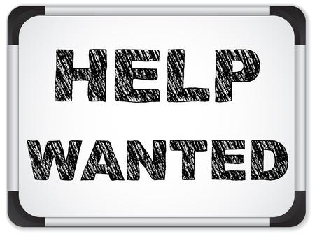 help wanted sign: Vector - busca ayuda escrita en la pizarra de tiza