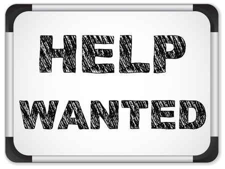 help wanted: Vector - Help Wanted written on Chalk Whiteboard Illustration