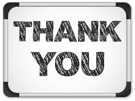 whiteboard: Vector - Whiteboard met Thank You Message geschreven met krijt