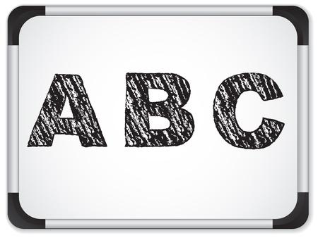 basic letters: Vector - Chalk Alphabet on Whiteboard Illustration