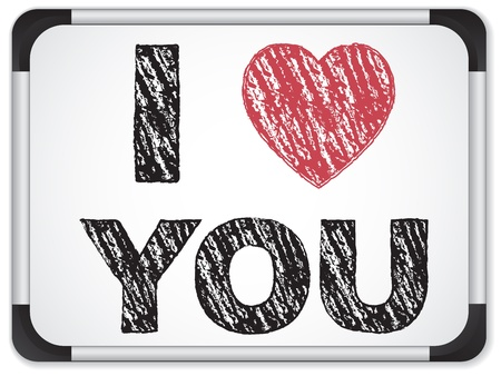 i nobody: Vector - Whiteboard with I Love Heart You Message written with Chalk Illustration
