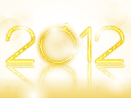 2012 Golden Neon with Christmas Ball Stock Vector - 10843311