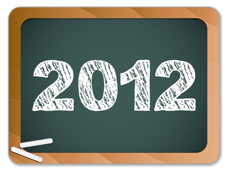 two thousand: 2012 New Year written on blackboard with chalk Illustration