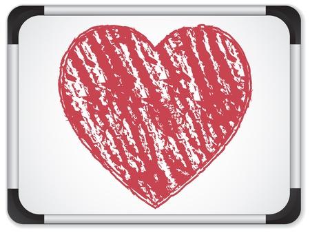 whiteboard: Whiteboard met hart geschreven met krijt