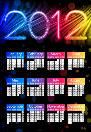 Colorful 2012 Calendar on Black Background. Rainbow Colors Vector