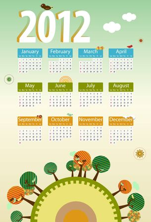 Calendar 2012 environmental retro planet with trees,birds,flowers and clouds. Vector