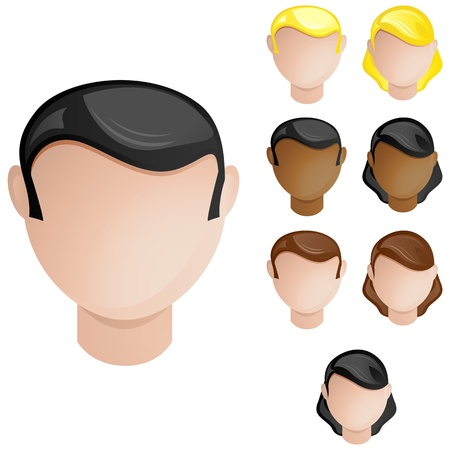 tutor: People Heads Male and Female. Set of 4 hair and skin colors
