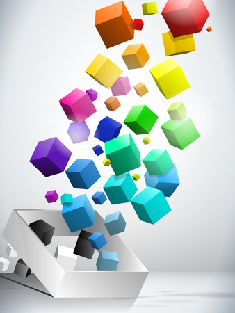 Colorful Flying Cubes Background Illustration