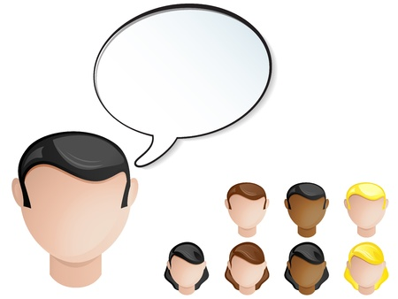 People Heads Speech Bubble. Set of 4 hair and skin colors Vector