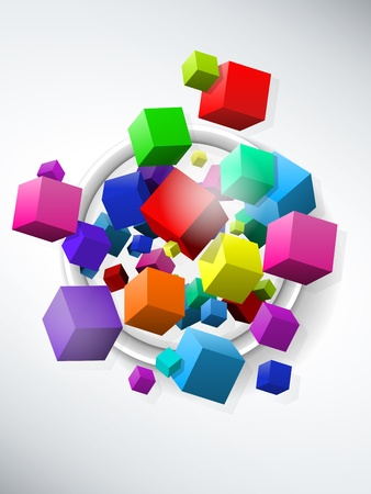 red cube:  Colorful Flying Cubes Background