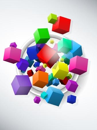cubo: Cubos de colores de fondo vuelo