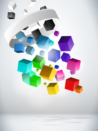 Colorful Flying Cubes Background Stock Vector - 11032093