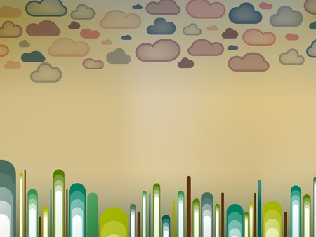 Retro Landscape with trees and clouds Vector