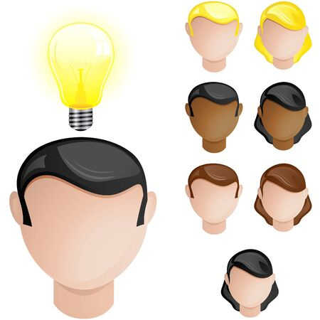 african american business woman: People Heads with Creativity Light Bulb
