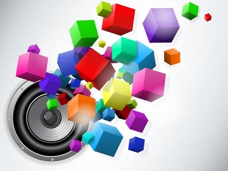Vector - Speaker with Flowing Cubes Vector