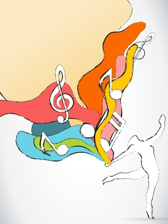 Vector - Dancer Silhouette with Colorful Waves and Music Notes Vector