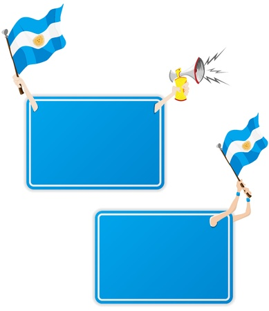 Vector - Argentina Sport Message Frame with Flag. Set of Two Vector
