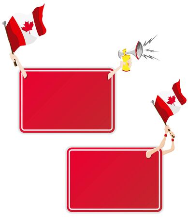 Vector - Canadian Sport Message Frame with Flag. Set of Two Vector