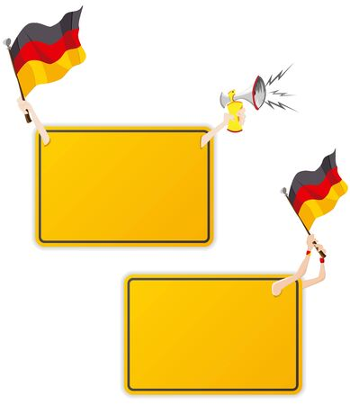 Vector - German Sport Message Frame with Flag. Set of Two Vector