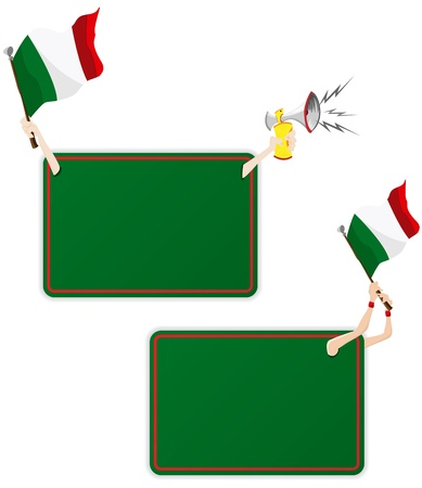 Vector - Italy Sport Message Frame with Flag. Set of Two Vector