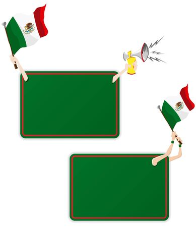 Vector - Mexico Sport Message Frame with Flag. Set of Two Vector