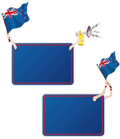 Vector - New Zealand Sport Message Frame with Flag. Set of Two Vector
