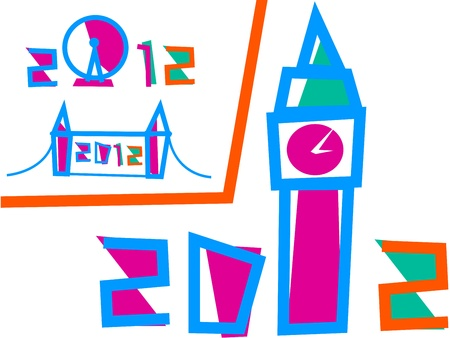 Vector - London 2012 Games. Set of 3 Illustrations Vector