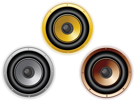 music loudspeaker: Vector - Round Isolated Sound Speaker. Set of 3 colors
